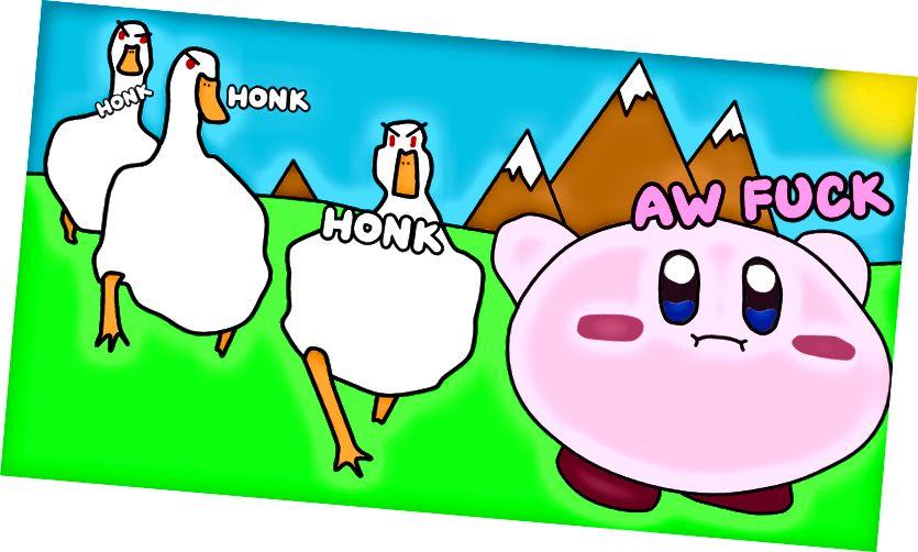 Γεμάτο Kirby μετά την κατάποση μιας χήνας.