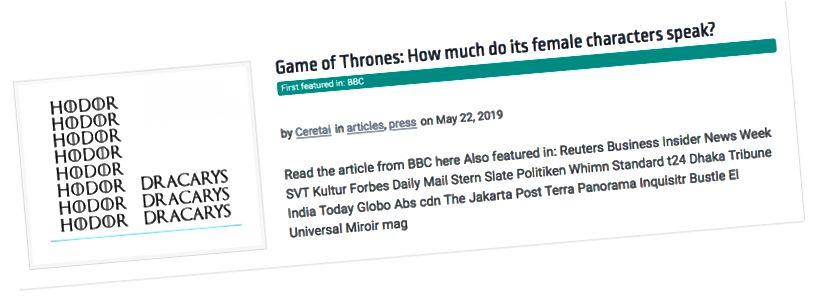 Ανάλυση του χρόνου ομιλίας χαρακτήρων του παιχνιδιού Thrones (μέσω ceretai.com).