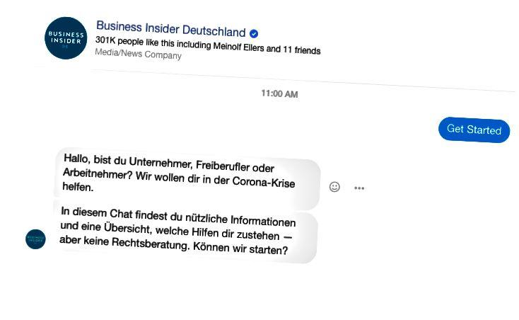 Facebook-Messenger-Chat-Bot de Business Insider and Spectrm (Gabháil scáileáin).