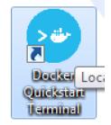 अपने डेस्कटॉप पर डॉकर क्विकस्टार्ट टर्मिनल की तलाश करें और डबल क्लिक करें