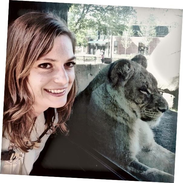 Vidět zvířata zblízka je super! Tady jsem se lvem, který sedí v okně výstavy v Zoo Lincoln Park. Jsem technicky jen pár centimetrů od lva. Tato zkušenost je jiná než v zoologických zahradách, kde můžete zvířata držet, protože lev má na výběr. Může odejít kdykoli. Vždy byste měli nechat zvířata k vám přijít.