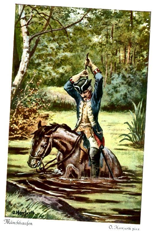 Baron Munchausen se pokouší vytáhnout z bahna škrábancem jeho vlastního krku. (Oskar Herrfurth)