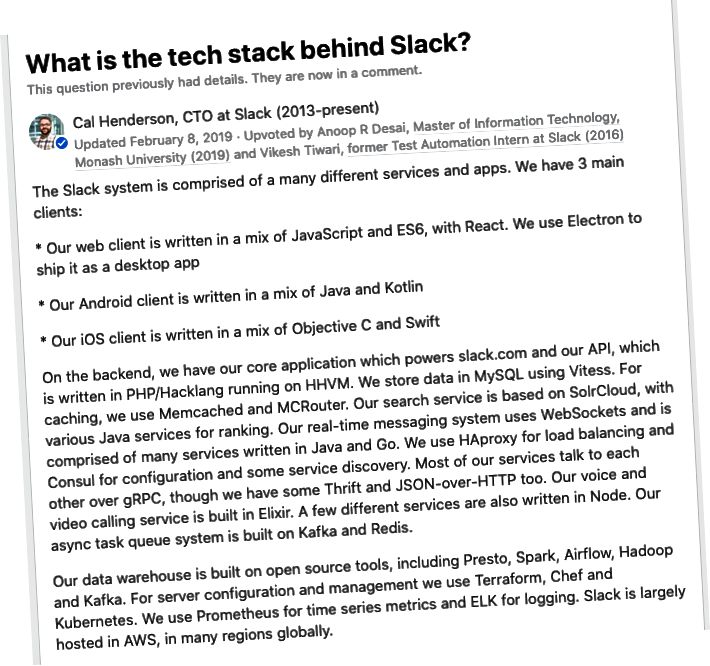 يستخدم Slack أيضًا LAMP. (مصدر)