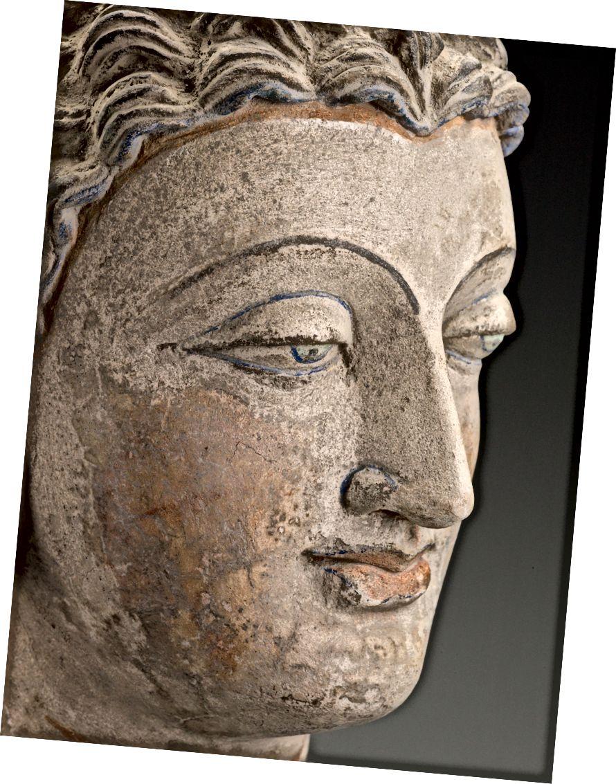 Pákistánská, vedoucí Buddhy (detail), 200. – 300. let, štuková barva, 15–3 / 4 x 7–3 / 4 x 7–1 / 4 in. Muzeum umění Indianapolis v Newfieldu, dárek Aliance Indianapolis Muzeum umění, 1994.1. Veřejná doména.