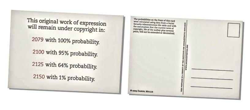 Určení stavu práv je složité. Zde je pohlednice umělce, která má předpovídat, kdy bude toto individuální dílo stále podléhat autorským právům. Původní výraz této pohlednice byl registrován u Úřadu pro autorské práva USA pod registračním číslem VA0001672722. Institut pro sociologický výzkum, pohlednice ze soukromých domén. © 2009 Daniel Mellis.