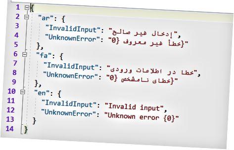 अरबी (एआर), पर्शियन (एफए) आणि इंग्रजी (एन) भाषांतर की-मूल्यांसह असलेल्या जेएसओएन फाइलचे उदाहरण