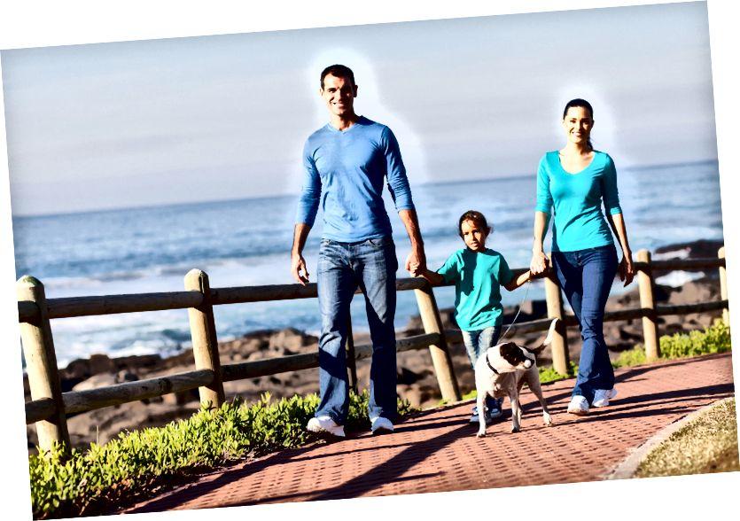 समुद्र तट पर अपने कुत्ते को टहलाते युवा परिवार