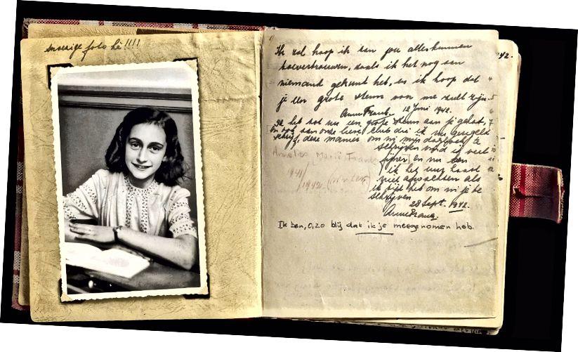 Foto af Anne Frank og en side fra hendes dagbog. Anne Frank [Public domain]