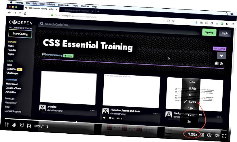 Skærmbillede af en LinkedIn Learning-kursusvideoafspiller.