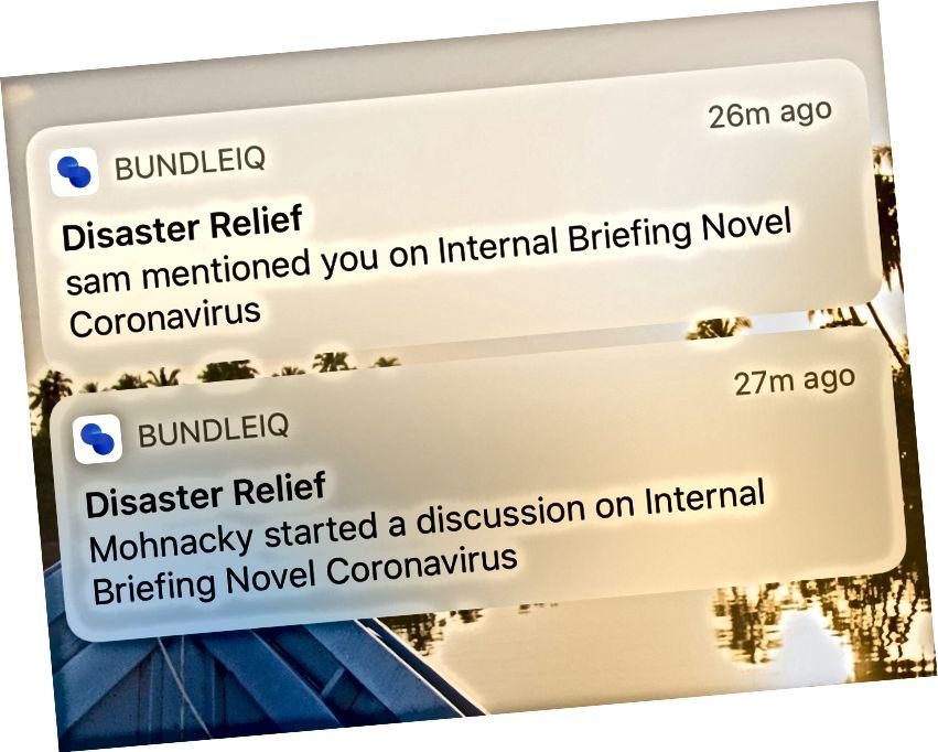 Pemberitahuan menunjukkan bahawa terdapat perbincangan yang berlaku pada dokumen di dalam bundleIQ