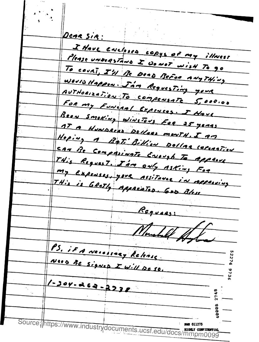 Naskenovaný e-mail, naskenovaný ručně psaný dopis.