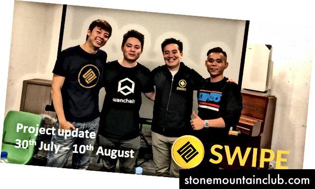 Chapdan: Adam (SWIPE ning CVO), Mark (Vanchayndagi SE Osiyo BD direktori), Endryu (SWIPE of CTO) va Georgi (SWIPE bo'yicha BD mutaxassisi)