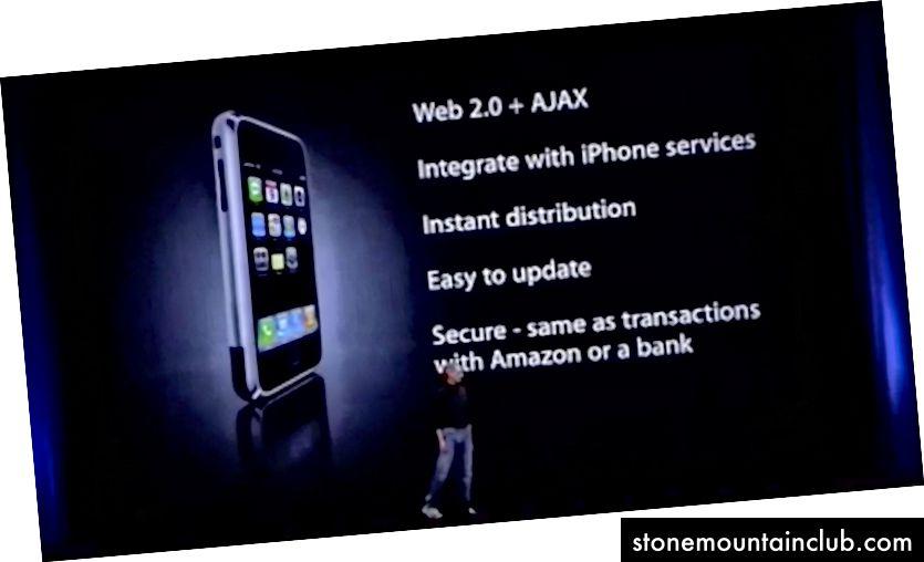 Stiv Djobs PWA-larni (boshqa nom bilan) WWDC 07-da birinchi iPhone bilan namoyish qilmoqda