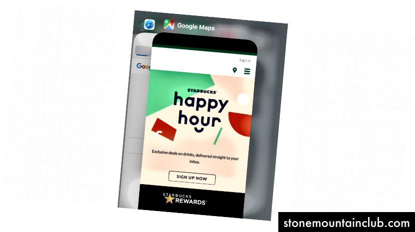 Starbucks markali Google Xaritalar? Yo'q, bu siz ketma-ket ochiq PWA-larni ishlatganingizdan keyingina iOS; tarixdagi g'alati narsalarni keltirib chiqaradi, bitta dastur noto'g'ri URL manzilini yuklaydi