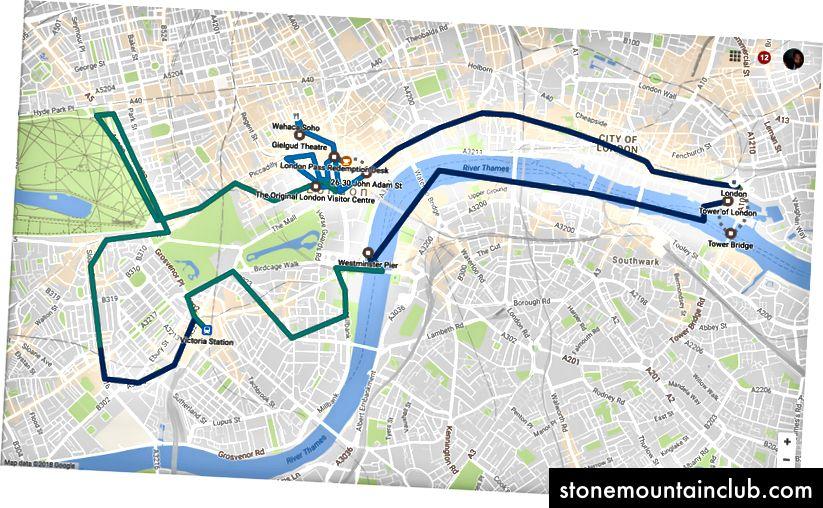2017 yil 2-sentyabr, shanba: Google meni London atrofida kuzatib qo'ydi, hatto men parom, velosiped, avtobus yoki piyoda sayohat qilgan bo'lsam ham, ehtimol mening tezligim bo'yicha.