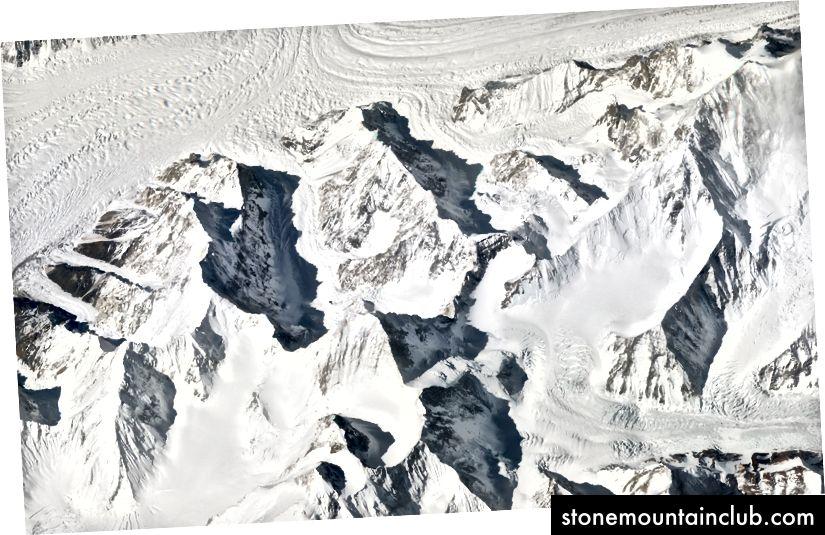 Gasherbrum Massif, Pokiston. 11 mart, 2018 yil. Rasm © 2018 Planet Labs, Inc. cc-by-sa 4.0.