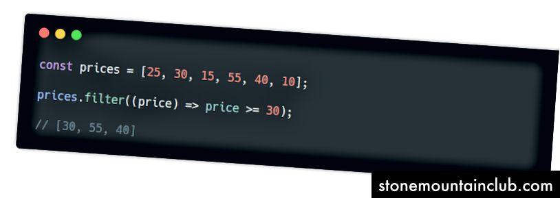 filtr () usuli w / arrow funktsiyasi