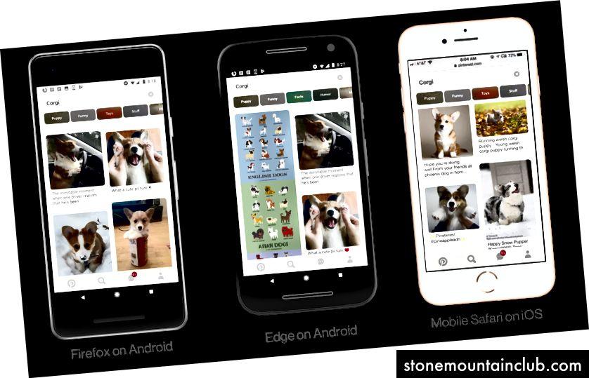 Pinterest-ning Firefox, Edge va Safari-dagi mobil qurilmalaridagi Progressive veb-ilovasi.