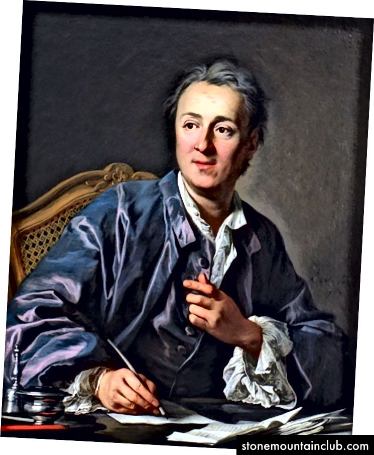 Denis Diderot 1767 yilda Lui-Mishel van Lu tomonidan tasvirlangan. Ushbu rasmda Diderot o'zining Diderot effektidagi mashhur inshosini qo'zg'atgan libosga o'xshash xalat kiygan.