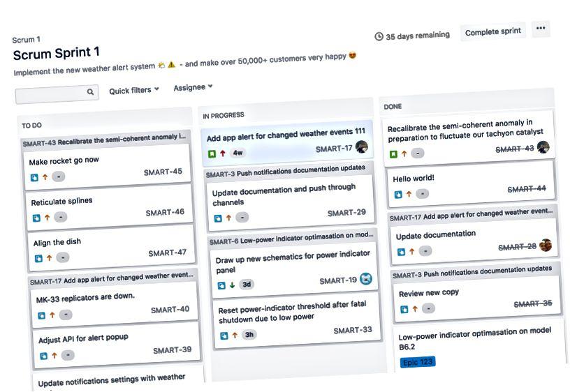Capture d'écran: sprints actifs d'une planche Scrum (source: https://support.atlassian.com/jirasoftware-cloud/)