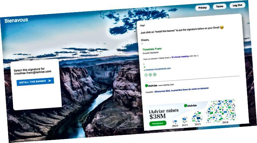 Durante l'ultimo annuncio di raccolta fondi da $ 38 milioni, tutti i dipendenti di iAdvize sono stati in grado di aggiornare il banner della firma e-mail in 1 clic.