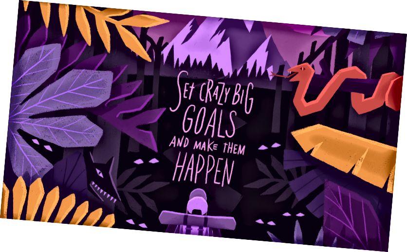 'वेडा मोठी लक्ष्ये सेट करुन ती व्हावी' या उद्देशाने स्टेफ मॅन्युअल यांनी डिझाइन केलेले एक सुंदर पोस्टर.