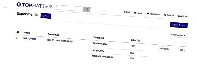 UI اداری برای چارچوب آزمایش های سفارشی Tophatter