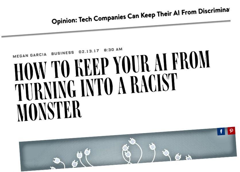 L'accident de Tesla (à gauche) et un article sur l'IA devenant raciste (à droite).