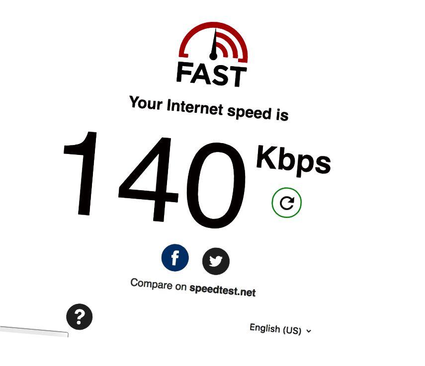 Questo è uno screenshot della nostra velocità su Internet quando eravamo in Ife