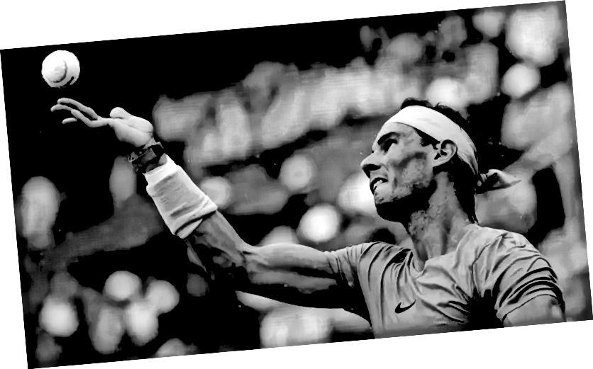 Tiêu điểm. Rafael Nadal, mắt trên quả bóng khi anh ấy phục vụ.