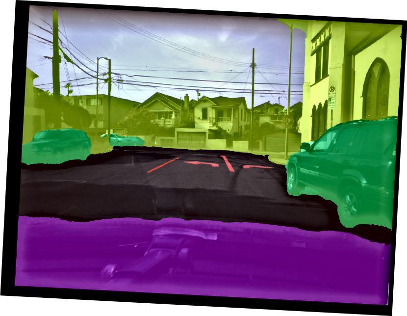 مدل segnet ما بطور خودکار جاده ها ، نشانگرهای خط ، وسایل نقلیه و محیط های غیر قابل محاسبه را برچسب می زند.