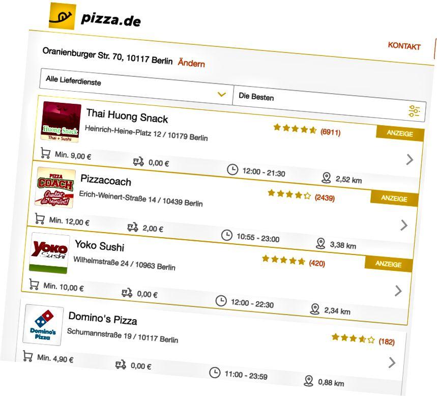 Annonces Premium dans les résultats de recherche de Pizza.de (marquées avec 'Anzeige').