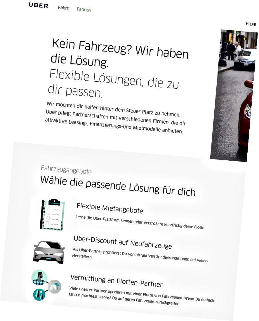 Services supplémentaires pour les chauffeurs chez Uber Allemagne (où je ne suis pas sûr qu'il puisse fonctionner légalement pour le moment).