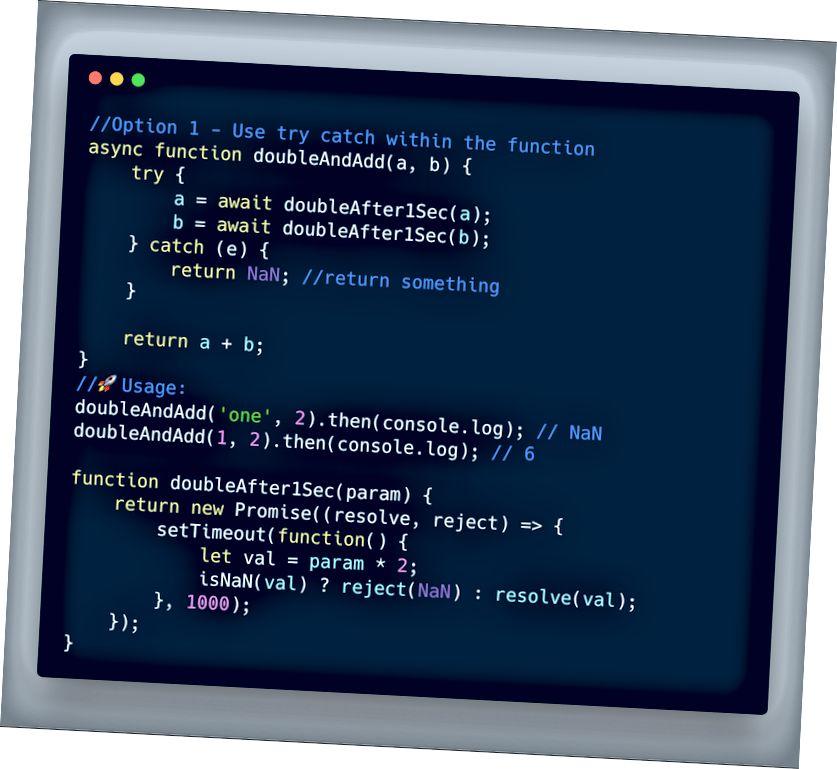 ECMAScript 2017 - استخدم محاولة الالتقاط داخل دالة المتزامن / الانتظار