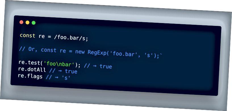 ECMAScript 2018 - تتيح ميزة Regex dotAll المطابقة حتى \ n عبر
