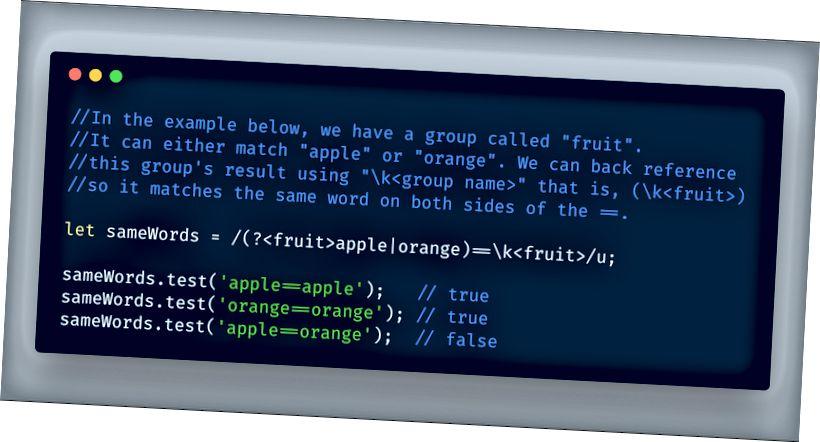 ECMAScript 2018 - Regex المسماة المجموعات التي ترجع إلى الرجوع عبر \ k <group name>