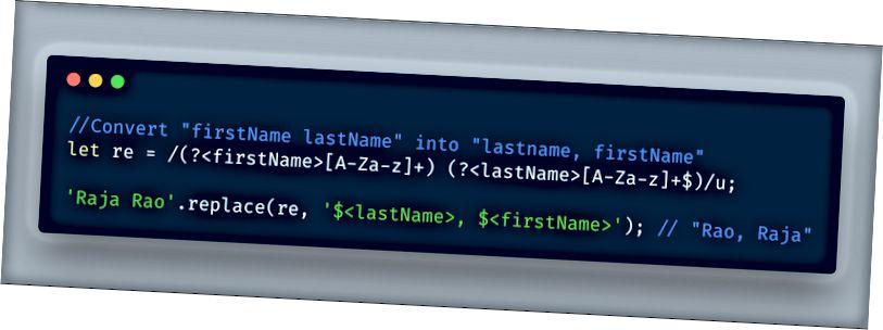 ECMAScript 2018 - استخدام ميزة المجموعات المسماة RegEx في وظيفة الاستبدال