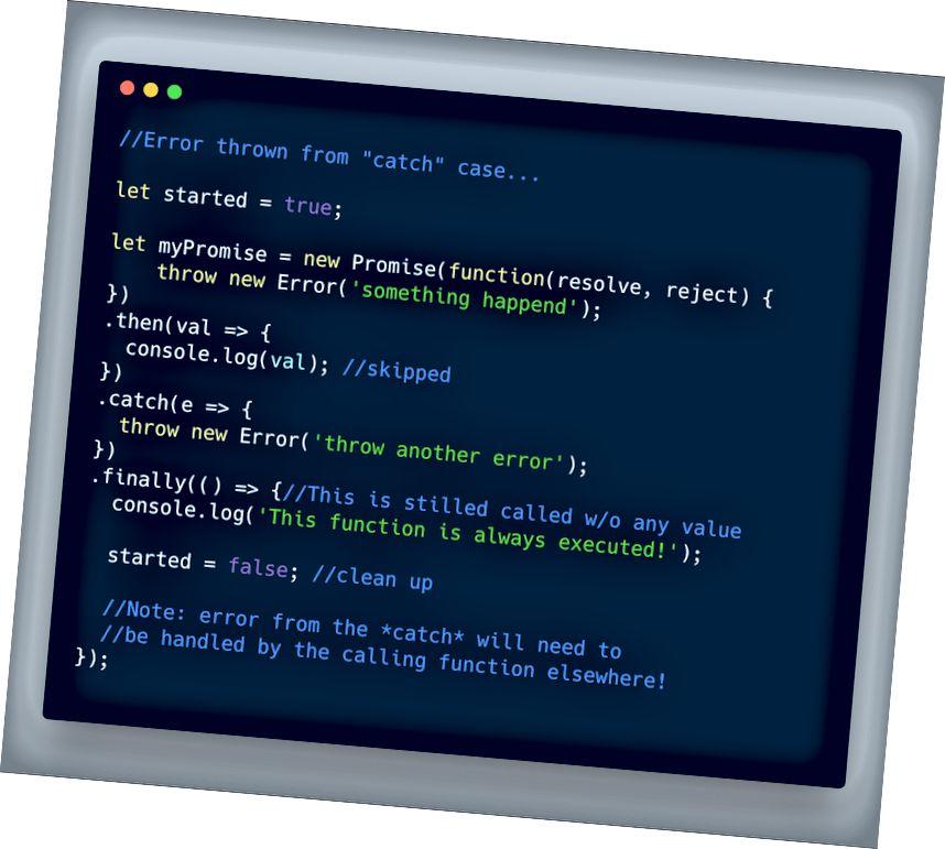 ECMAScript 2018 - تم طرح خطأ من داخل حالة ** catch **