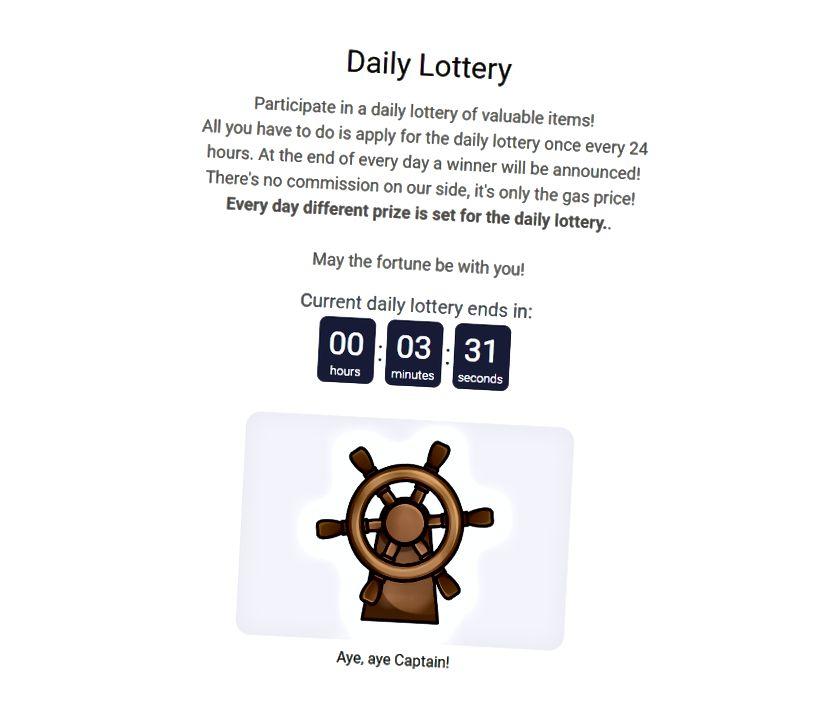 Page de loterie quotidienne