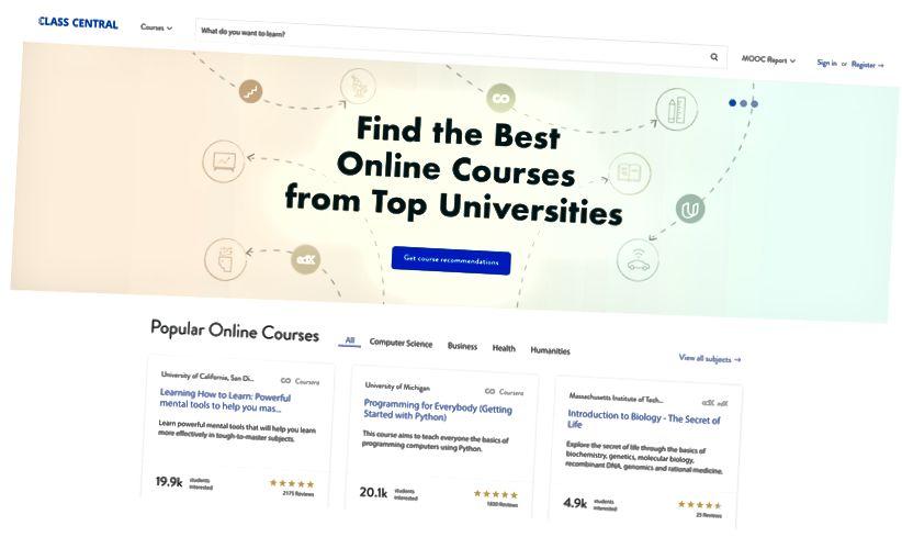 Page d'accueil de Class Central.