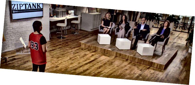 """Kaeya a """"Futópálya: A divat indítása"""" pályán játszik. Bal oldali befektetők: Katia, Rebecca, Gary és Christine."""