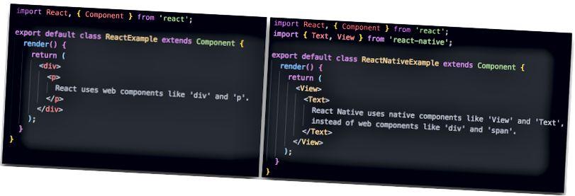 React VS React Native code example