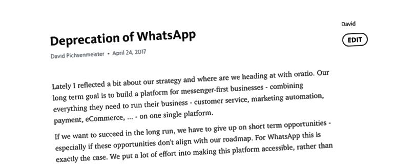 A WhatsApp értékcsökkenését javasló belső feljegyzés 2017. április 24-én