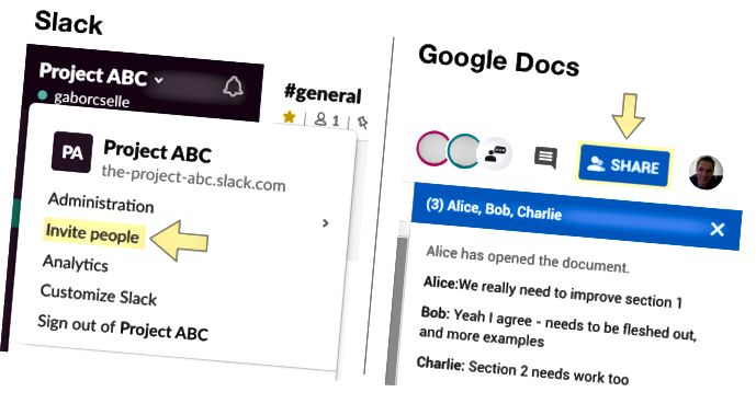 Að bjóða fólki að vinna í Slack og Google Docs