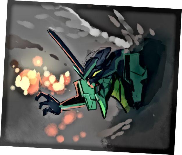 تصویر کشیده شده توسط یک کاربر ژاپنی Vue برای تجلیل از نسخه 1.0 (با نام رمزگذاری شده Evangelion)