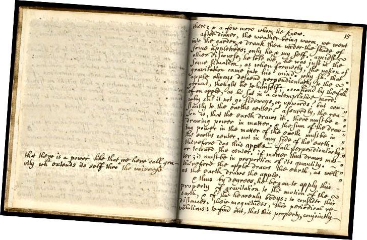 La célèbre page décrivant l'incident de la pomme de Newton dans Memoirs of Sir Isaac Newton's Life de William Stukeley.