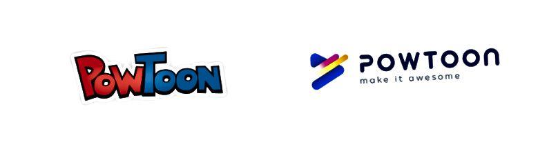 Anciens et nouveaux logos de Powtoon. Continuez à lire pour voir comment nous y sommes arrivés!