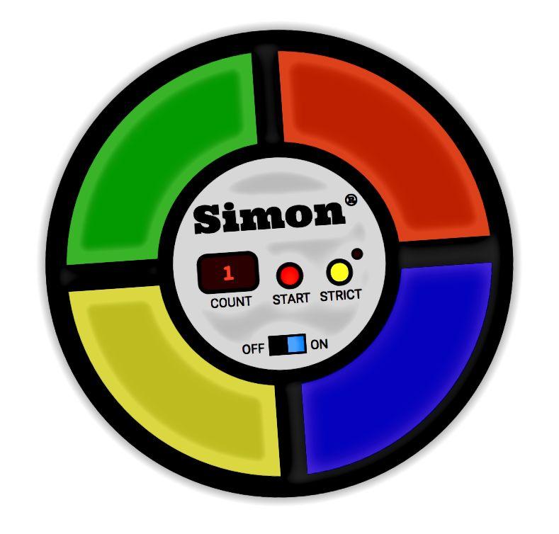 Simon-Spiel im Stil der 1970er Jahre