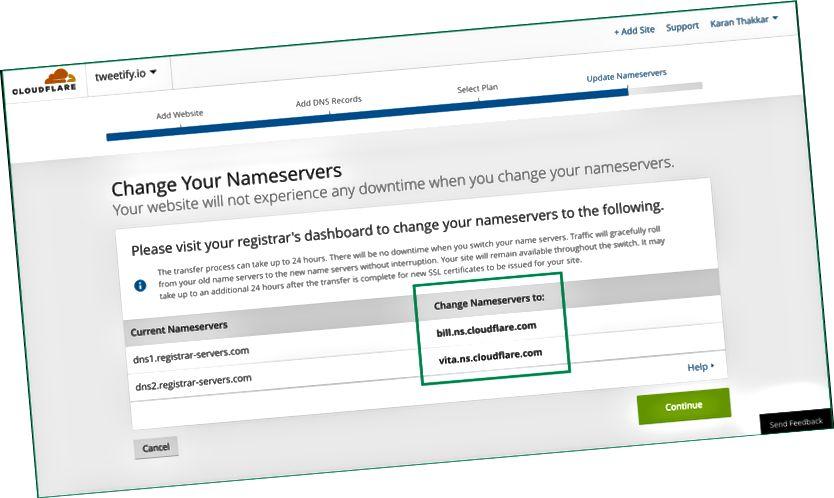 Copiez ces deux serveurs de noms en surbrillance dans les paramètres du serveur de noms de votre registraire DNS