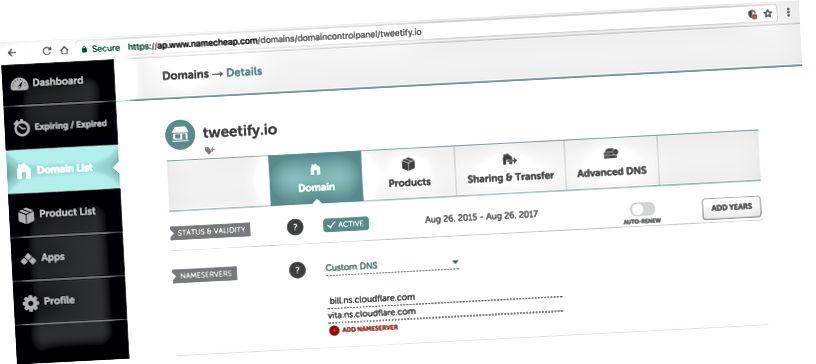 Un exemple de ce à quoi cela ressemblerait après avoir mis à jour les paramètres de votre serveur de noms dans votre bureau d'enregistrement DNS